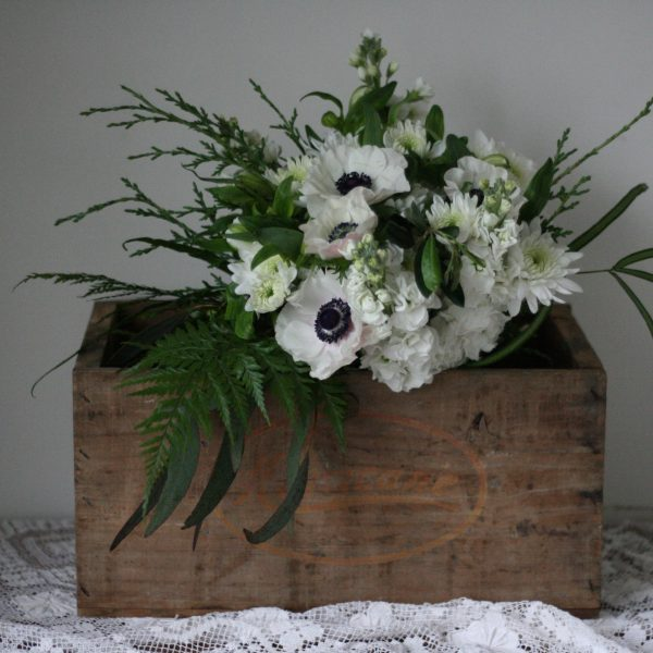 wooden crate with flowers 2